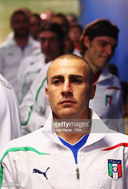 Fabio Cannavaro of Italy looks on as he waits in the tunnel prior to the 2010 FIFA World Cup South Africa Group F match between Italy and New Zealand...