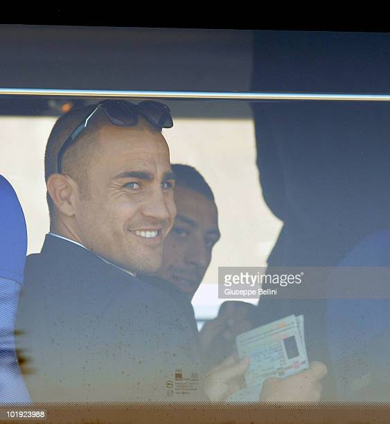 Fabio Cannavaro of Italy looks on during the Italy Arrive for 2010 FIFA World Cup at OR Tambo International Airport on June 9 2010 in Johannesburg...