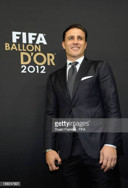 Fabio Cannavaro of Italy psoes for photographs on the red carpet during the FIFA Ballon d'Or Gala 2012 at the Kongresshaus on January 7 2013 in...