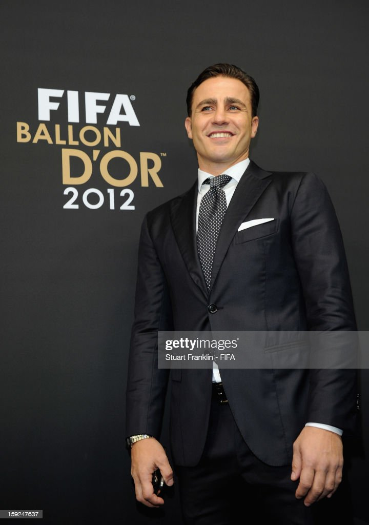 <a gi-track='captionPersonalityLinkClicked' href=/galleries/search?phrase=Fabio+Cannavaro&family=editorial&specificpeople=204335 ng-click='$event.stopPropagation()'>Fabio Cannavaro</a> of Italy psoes for photographs on the red carpet during the FIFA Ballon d'Or Gala 2012 at the Kongresshaus on January 7, 2013 in Zurich, Switzerland.