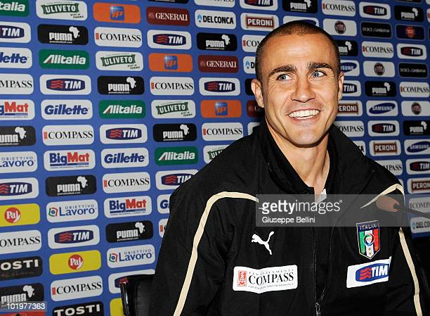 Fabio Cannavaro of Italy speaks with the media during a press conference on June 11 2010 in Centurion South Africa