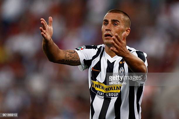 Fabio Cannavaro of Juventus gestures during the Serie A match between Roma and Juventus at Stadio Olimpico on August 30 2009 in Rome Italy
