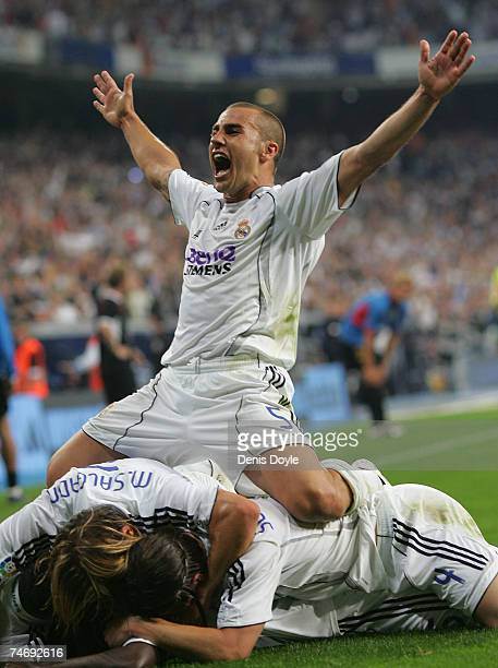 Fabio Cannavaro of Real Madrid celebrates after Real Madrid scored their 2nd goal during the Primera Liga match between Real Madrid and Mallorca at...