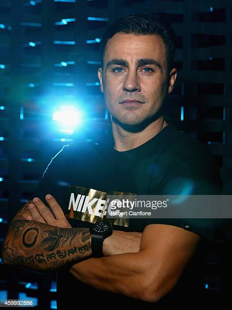 Fabio Cannavaro poses during a Global Legends Series portrait session at the Swissotel on December 5 2014 in Bangkok Thailand