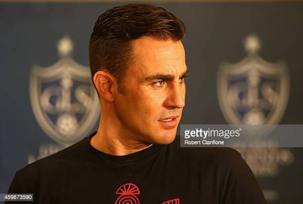 Fabio Cannavaro speaks to the media during a press conference in the lead up to the the Global Legends Series at the Swissotel on December 3 2014 in...