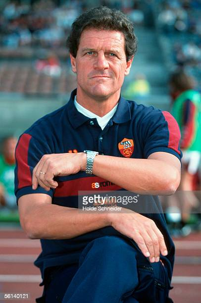 Fabio Capello coach of AS Rome is seen during the friendly match between Hertha BSC Berlin and AS Rom at the Olympic Stadium on August 6 2000 in...