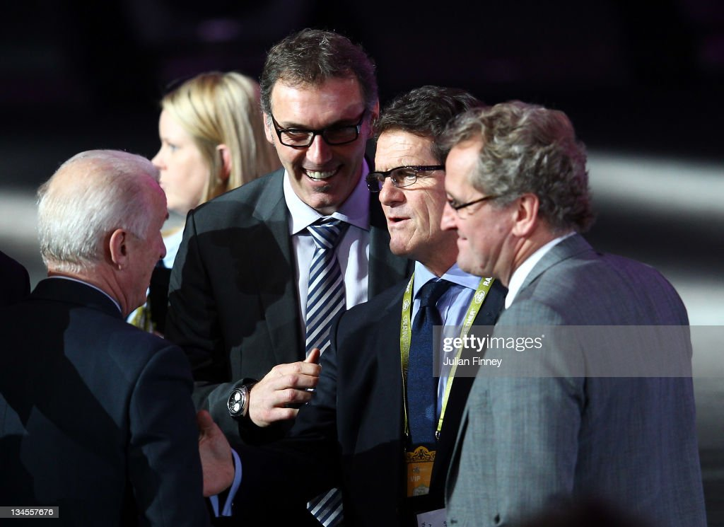 Fabio Capello, coach of England with Laurent Blanc, coach of France during the UEFA EURO 2012 Final Draw Ceremony on December 2, 2011 in Kiev, Ukraine.