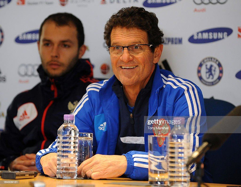 <a gi-track='captionPersonalityLinkClicked' href=/galleries/search?phrase=Fabio+Capello&family=editorial&specificpeople=241290 ng-click='$event.stopPropagation()'>Fabio Capello</a>, coach of Russia, smiles during the press conference ahead of the forthcoming international friendly match between Brazil and Russia, at Stamford Bridge on March 24, 2013 in London, England.