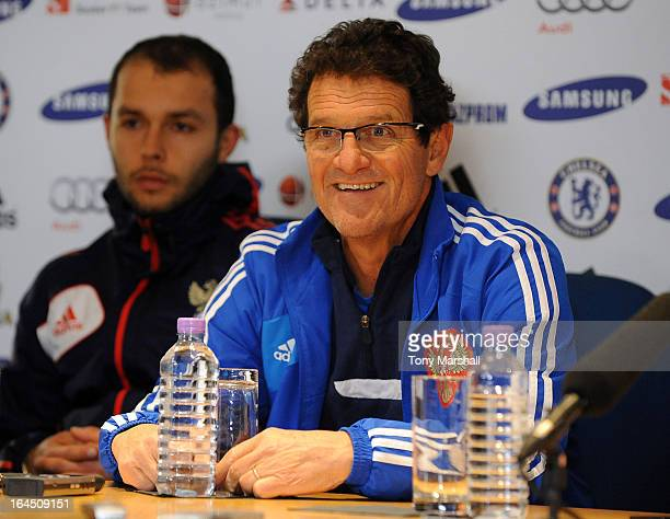 Fabio Capello coach of Russia smiles during the press conference ahead of the forthcoming international friendly match between Brazil and Russia at...