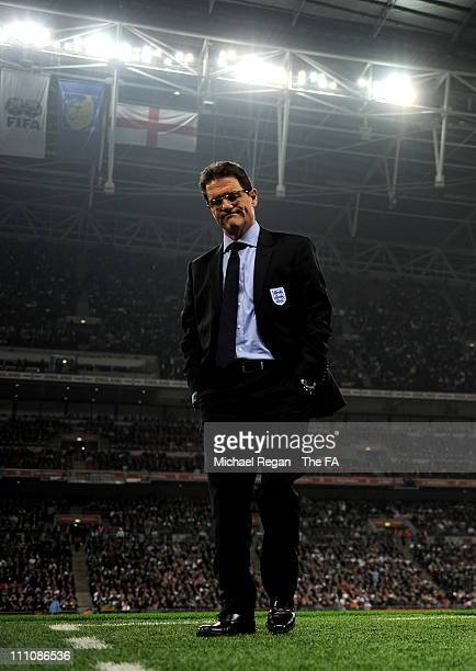 Fabio Capello manager of England looks dejected on the sidelines during the international friendly match between England and Ghana at Wembley Stadium...