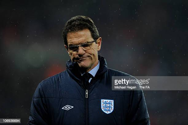 Fabio Capello manager of England looks on during the international friendly match between England and France at Wembley Stadium on November 17 2010...