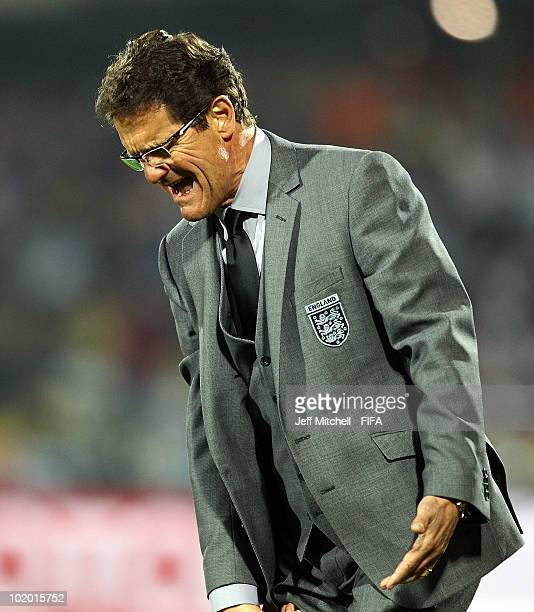 Fabio Capello manager of England reacts during the 2010 FIFA World Cup South Africa Group C match between England and USA at the Royal Bafokeng...