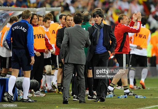 Fabio Capello manager of England shakes hands with Joachim Loew head coach of Germany during the 2010 FIFA World Cup South Africa Round of Sixteen...