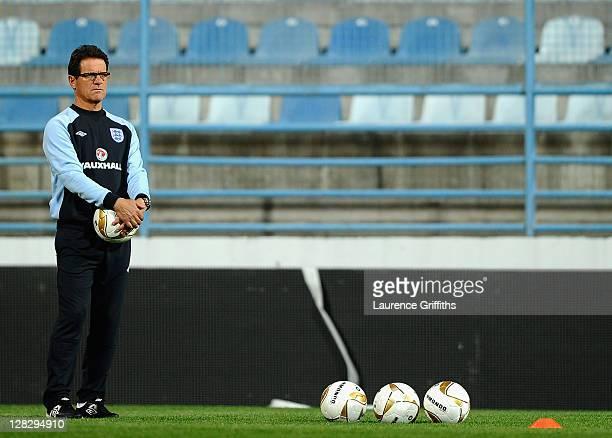 Fabio Capello of England looks on during training in the City Stadium on October 6 2011 in Podgorica Montenegro