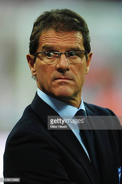 Fabio Capello the England manager looks on before the start of the UEFA EURO 2012 Group G Qualifying match between England and Bulgaria at Wembley...