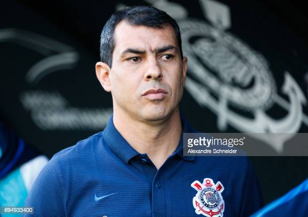 Fabio Carille hea coach of Corinthians in action during the match between Corinthians and Sao Paulo for the Brasileirao Series A 2017 at Arena...