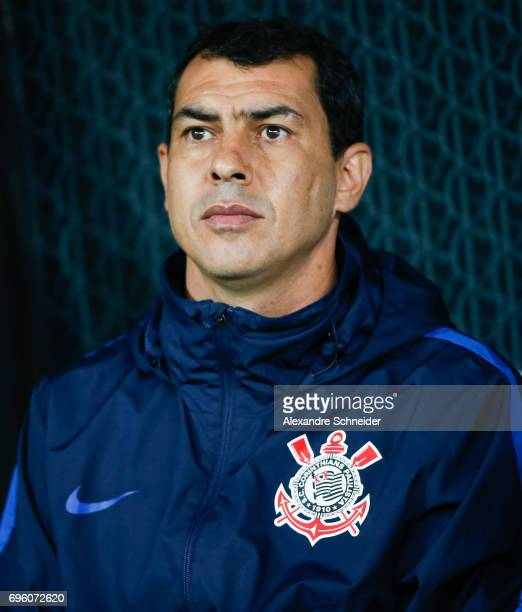 Fabio Carille head coach of Corinthians in action during the match between Corinthians and Cruzeiro for the Brasileirao Series A 2017 at Arena...