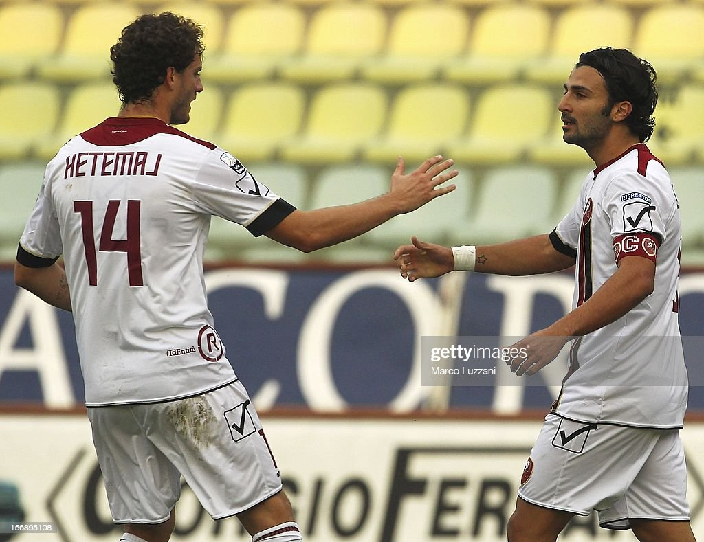 Fabio Ceravolo (R) of Reggina Calcio celebrates with Mehmet Hetemaj after scoring their first goal during the Serie B match between US Sassuolo and Reggina Calcio at Alberto Braglia Stadium on November 24, 2012 in Modena, Italy.