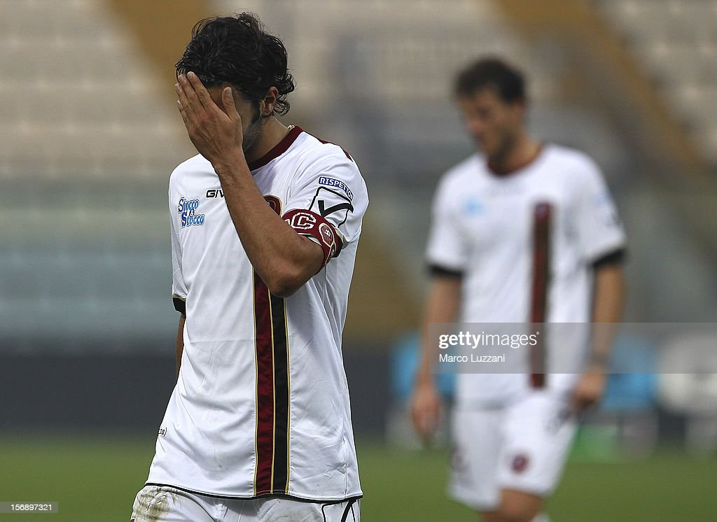 Fabio Ceravolo of Reggina Calcio shows his dejection during the Serie B match between US Sassuolo and Reggina Calcio at Alberto Braglia Stadium on November 24, 2012 in Modena, Italy.