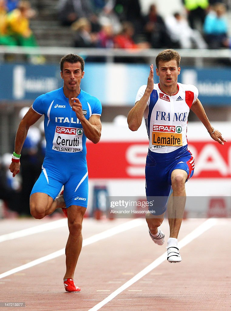 Fabio Cerutti of Italy competes with <a gi-track='captionPersonalityLinkClicked' href=/galleries/search?phrase=Christophe+Lemaitre+-+Sprinter&family=editorial&specificpeople=5431868 ng-click='$event.stopPropagation()'>Christophe Lemaitre</a> of France in the Men's 100 Metres Semi Finals during day one of the 21st European Athletics Championships at the Olympic Stadium on June 27, 2012 in Helsinki, Finland.