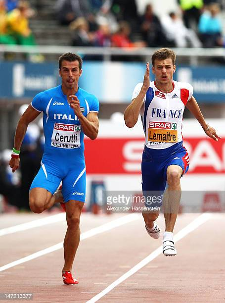 Fabio Cerutti of Italy competes with Christophe Lemaitre of France in the Men's 100 Metres Semi Finals during day one of the 21st European Athletics...
