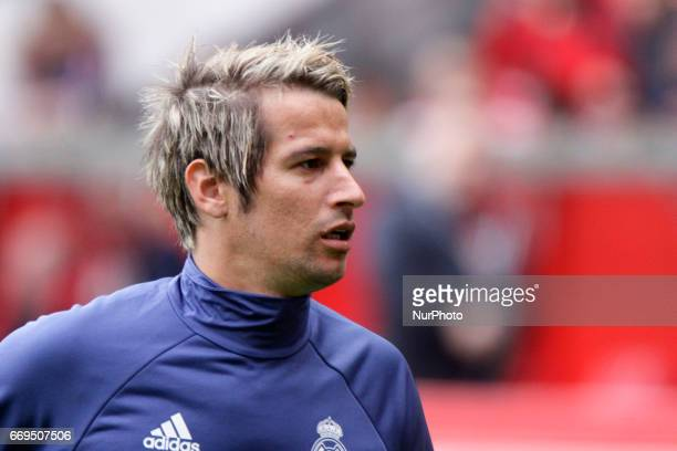 Fabio Coentrao defender of Real Madridd during the La Liga Santander match between Sporting de Gijon and Real Madrid at Molinon Stadium on April 15...