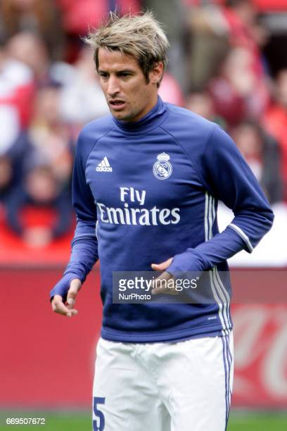 Fabio Coentrao defender of Real Madridd during the La Liga Santander match between Sporting de Gijon and Real Madrid at Molinon Stadium on April 15...