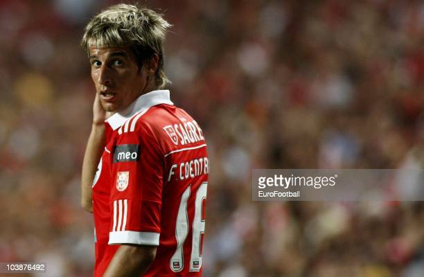 Fabio Coentrao of Benfica looks on during the Portuguese Liga match between Benfica and Vitoria Setubal at Luz Stadium on August 28 2010 in Lisbon...