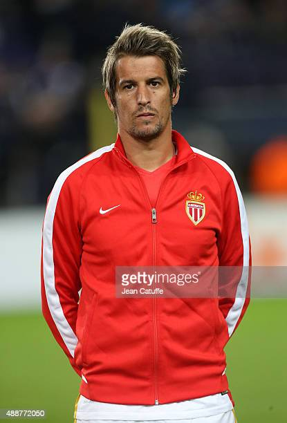 Fabio Coentrao of Monaco poses before the UEFA Europa League match between RSC Anderlecht and AS Monaco FC at Stade Constant Vanden Stock on...