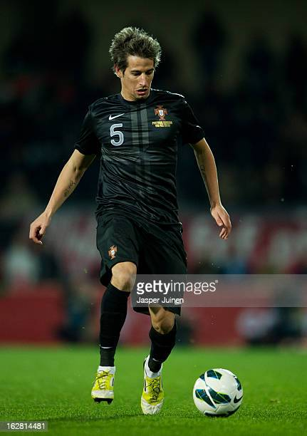 Fabio Coentrao of Portugal controls the ball during the international friendly match between Portugal and Ecuador at the Estadio Dom Afonso Henriques...