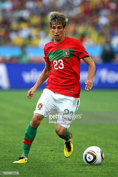 Fabio Coentrao of Portugal in action during the 2010 FIFA World Cup South Africa Group G match between Portugal and Brazil at Durban Stadium on June...