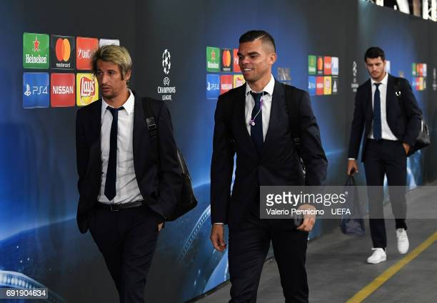 Fabio Coentrao of Real Madrid and Pepe of Real Madrid arrive at the stadium prior to the UEFA Champions League Final between Juventus and Real Madrid...