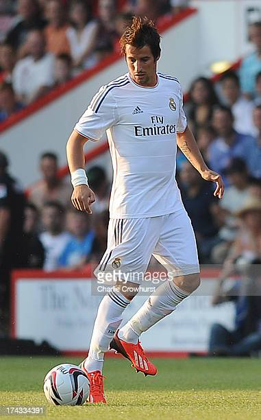 Fabio Coentrao of Real Madrid attacks during the pre season friendly match between Bournemouth and Real Madrid at Goldsands Stadium on July 21 2013...