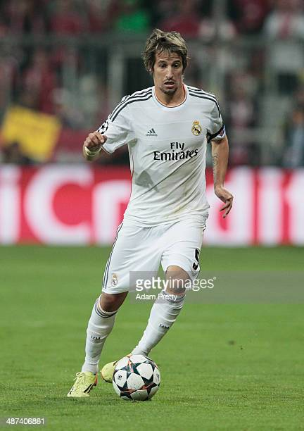 Fabio Coentrao of Real Madrid controls the ball during the UEFA Champions League semifinal second leg match between FC Bayern Muenchen and Real...