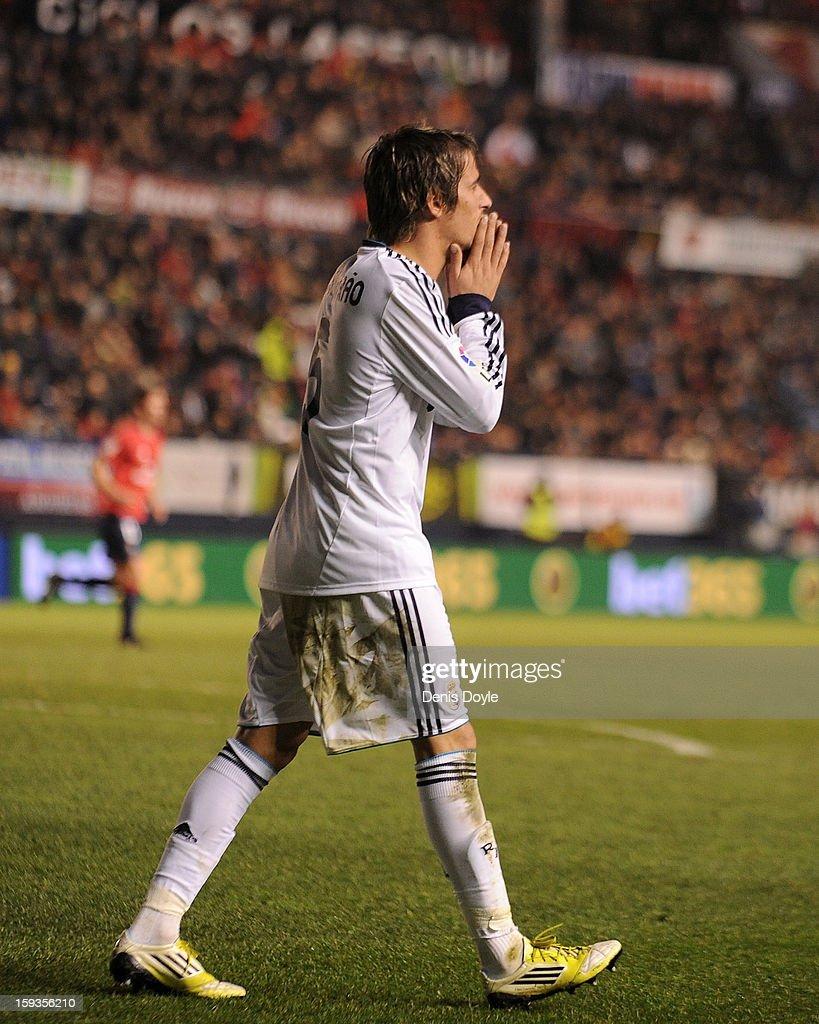 Fabio Coentrao of Real Madrid reacts during the La Liga match between Osasuna and Real Madrid at estadio Reino de Navarra on January 12, 2013 in Pamplona, Spain.