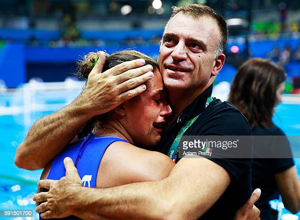 Fabio Conti coach of Italy celebrates after victory in the Water Polo semi final match between Italy and Russia at Olympic Aquatics Stadium on August...