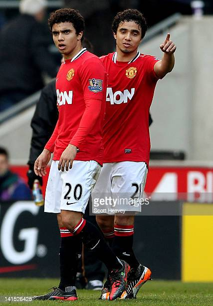 Fabio Da Silva and Rafael Da Silva during the Barclays Premier League Match between Wolverhampton Wanderers and Manchester United at Molineux on...