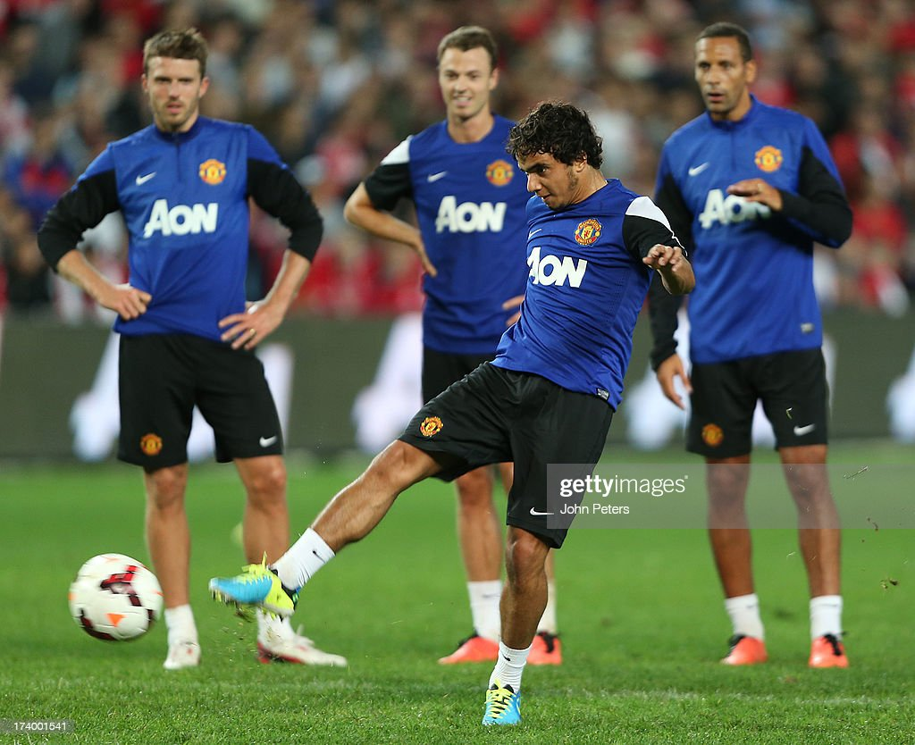 Fabio da Silva of Manchester United in action during a first team training session as part of their pre-season tour of Bangkok, Australia, China, Japan and Hong Kong on July 19, 2013 in Sydney, Australia.
