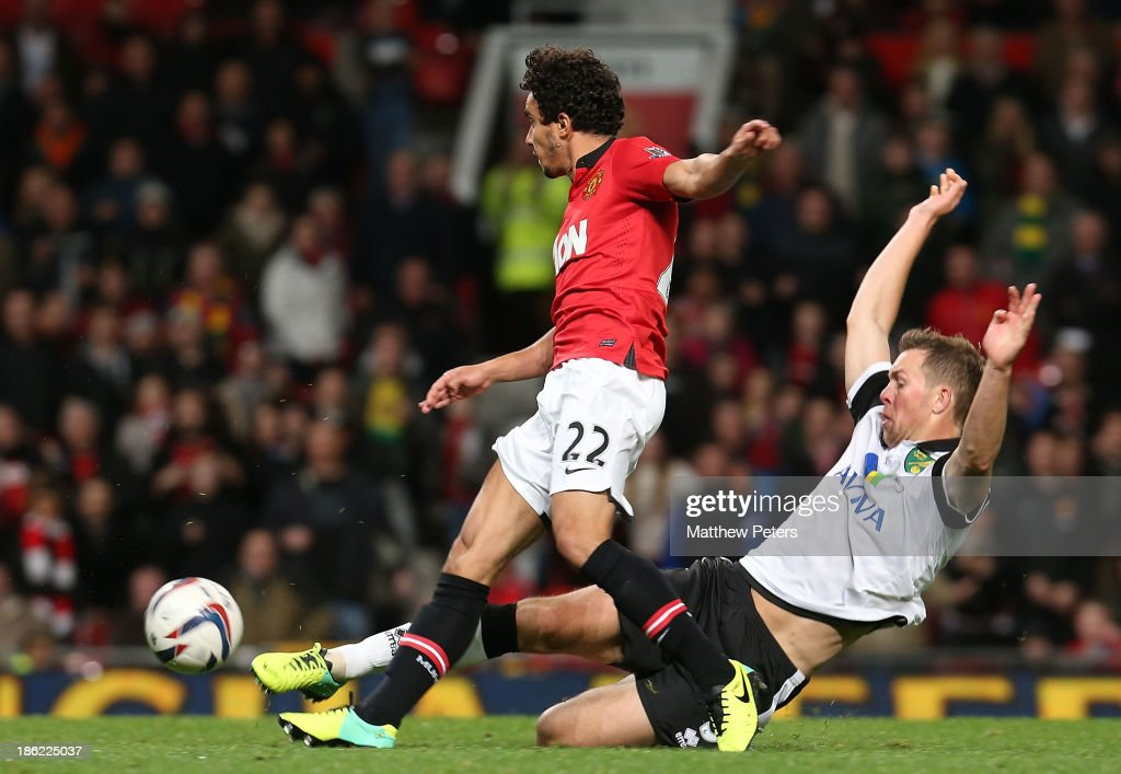 Fabio da Silva of Manchester United scores their fourth goal during the Capital One Cup Fourth Round match between Manchester United and Norwich City at Old Trafford on October 29, 2013 in Manchester, England.
