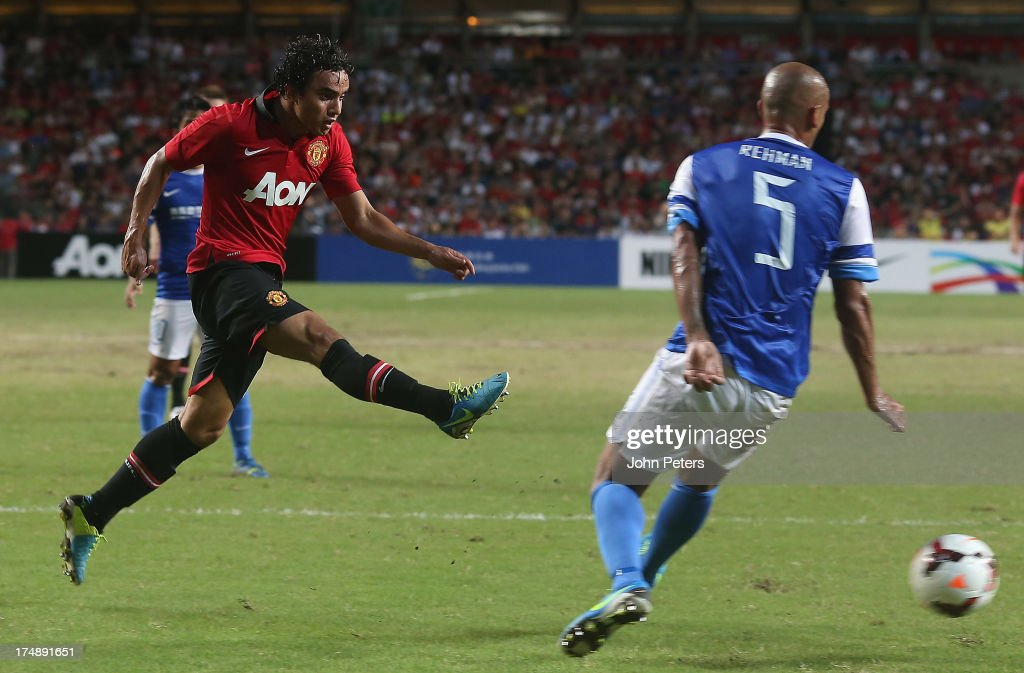 Fabio da Silva of Manchester United scores their third goal during the pre-season friendly match between Kitchee FC and Manchester United as part of their pre-season tour of Bangkok, Australia, Japan and Hong Kong at Hong Kong Stadium on July 29, 2013 in So Kon Po, Hong Kong.