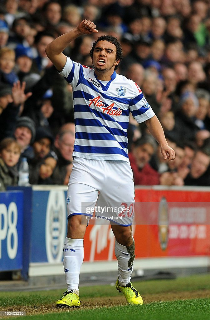 Fabio da Silva of Queens Park Rangers reacts to the linesman during the Barclays Premier League match between Queens Park Rangers and Sunderland at Loftus Road on March 9, 2013 in London, England.