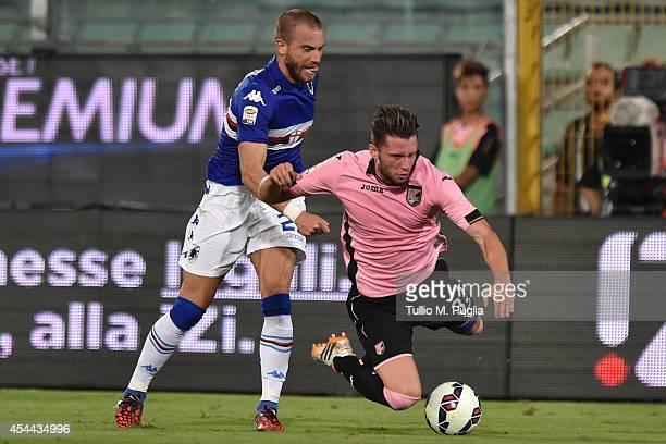 Fabio Daprela of Palermo and Lorenzo De Silvestri of Sampdoria fight for the ball during the Serie A match between US Citta di Palermo and UC...