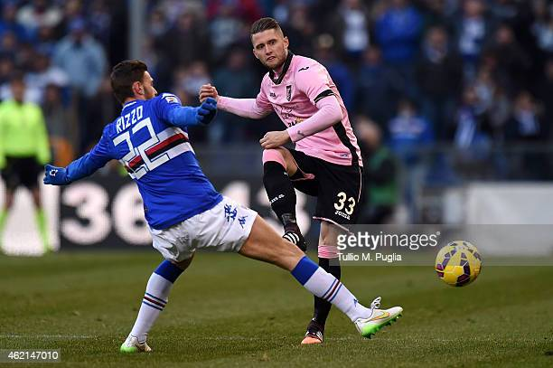 Fabio Daprela of Palermo and Luca Rizzo of Sampdoria compete for the ball during the Serie A match between UC Sampdoria and US Citta di Palermo at...