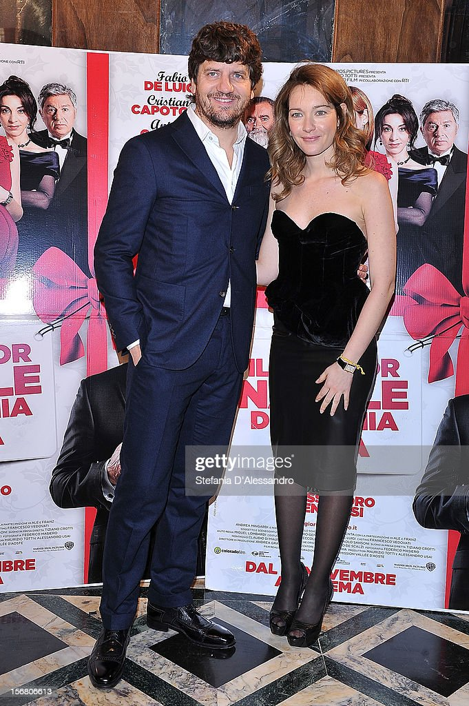 Fabio De Luigi and <a gi-track='captionPersonalityLinkClicked' href=/galleries/search?phrase=Cristiana+Capotondi&family=editorial&specificpeople=676919 ng-click='$event.stopPropagation()'>Cristiana Capotondi</a> attend 'Il Peggior Natale Della Mia Vita' Premiere on November 21, 2012 in Milan, Italy.