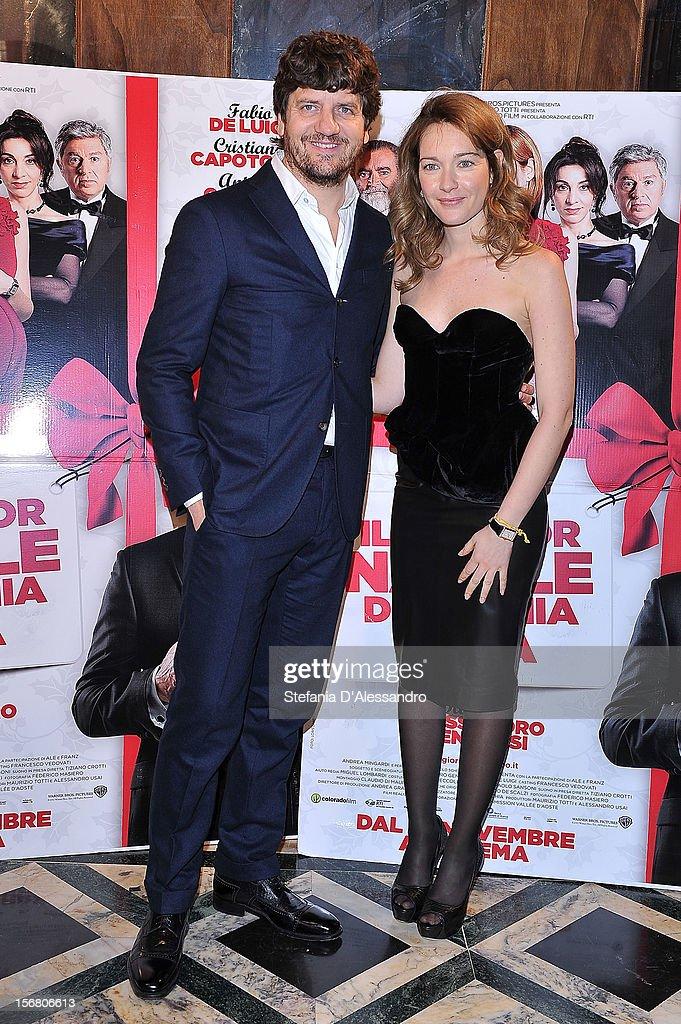 Fabio De Luigi and Cristiana Capotondi attend 'Il Peggior Natale Della Mia Vita' Premiere on November 21, 2012 in Milan, Italy.