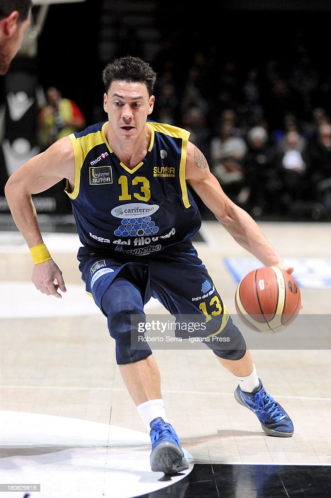 Fabio Di Bellai of Sutor in action during the LegaBasket Serie A match between Virtus Bologna SAIE3 and Sutor Montegranaro at Unipol Arena on February 3, 2013 in Bologna, Italy.