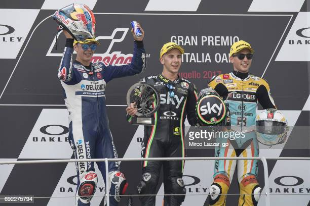 Fabio Di Giannantonio of Italy and Del Conca Gresini Moto3 Andrea Migno of Italy and Sky Racing Team VR46 and Juanfran Guevara of Spain and RBA BOE...