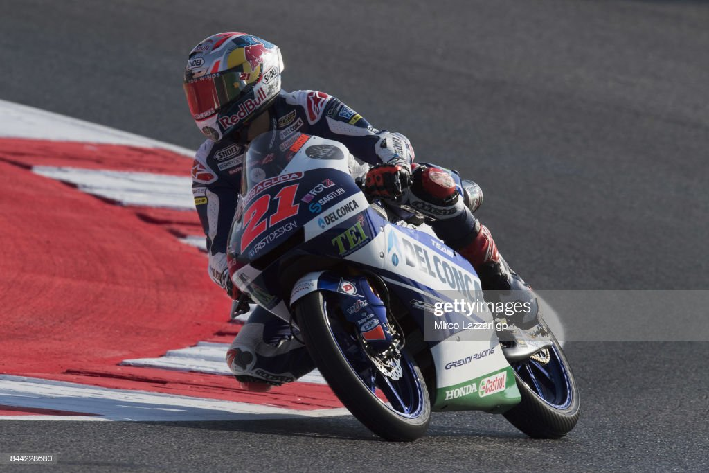 Fabio Di Giannantonio of Italy and Del Conca Gresini Moto3 rounds the bend during the MotoGP of San Marino - Free Practice at Misano World Circuit on September 8, 2017 in Misano Adriatico, Italy.