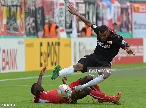 Fabio Dias of FC Viktoria Koeln and Collin Quaner of 1 FC Union Berlin during the DFB Cup match between FC Viktoria Koeln and Union Berlin at...