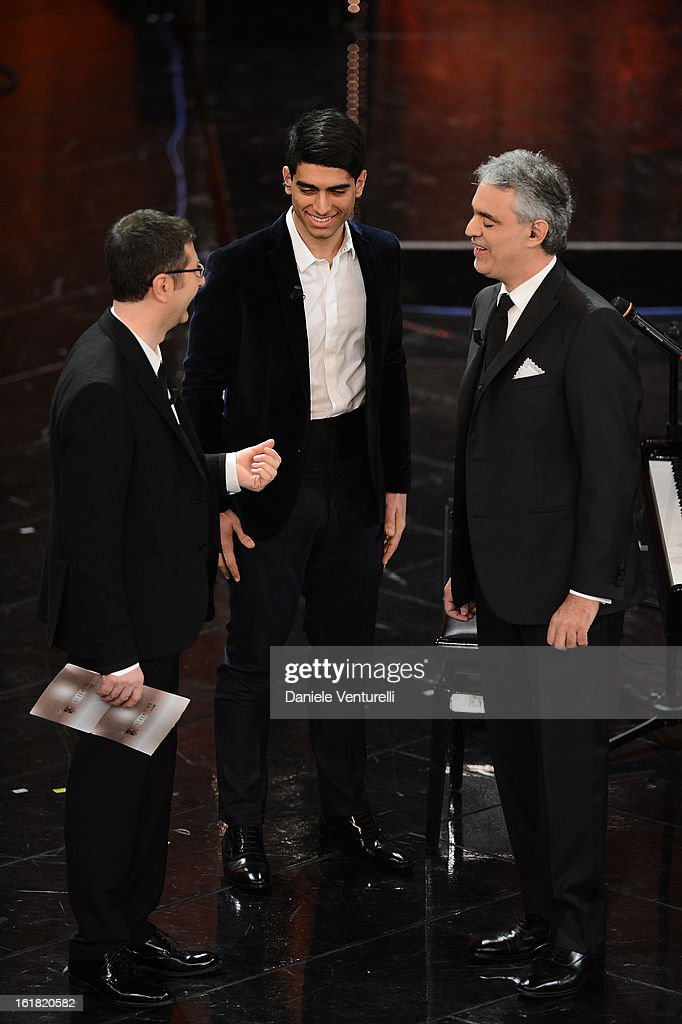 <a gi-track='captionPersonalityLinkClicked' href=/galleries/search?phrase=Fabio+Fazio&family=editorial&specificpeople=774725 ng-click='$event.stopPropagation()'>Fabio Fazio</a>, Amos Bocelli and <a gi-track='captionPersonalityLinkClicked' href=/galleries/search?phrase=Andrea+Bocelli&family=editorial&specificpeople=211558 ng-click='$event.stopPropagation()'>Andrea Bocelli</a> attend the closing night of the 63rd Sanremo Song Festival at the Ariston Theatre on February 16, 2013 in Sanremo, Italy.